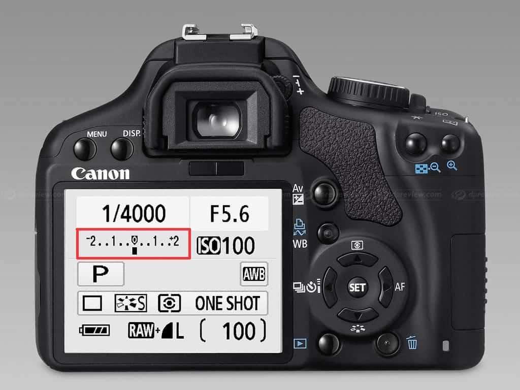 thước đo sáng light meter trên máy ảnh canon