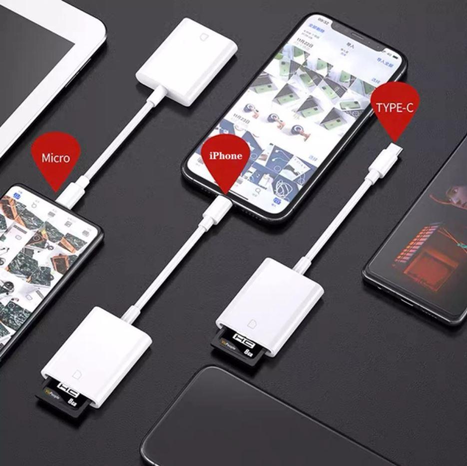 đầu chuyển dữ liệu thẻ nhớ sang điện thoại Iphone, Micro, Type C