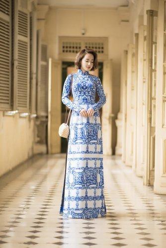 Nhã Phương xinh đẹp nền nã với áo dài họa tiết gạch bông - 06