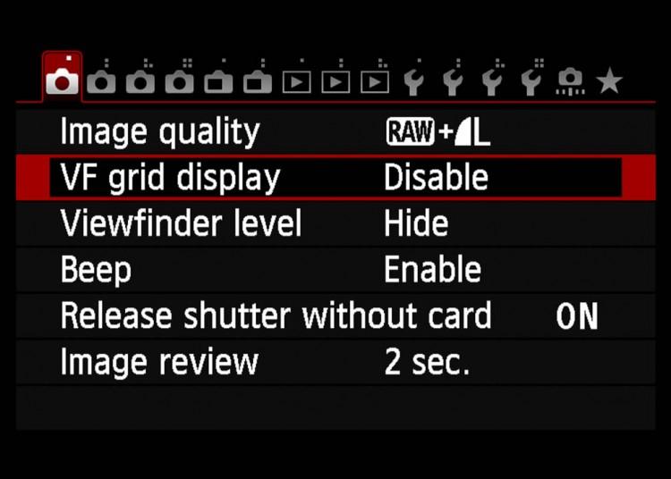 cách bật đường lưới grid line cho máy ảnh Canon 70D